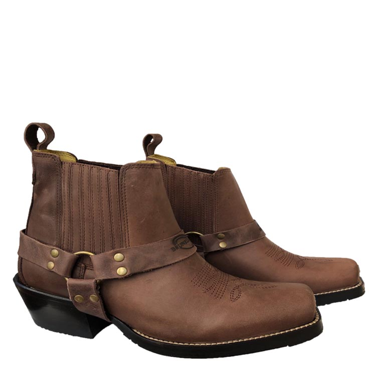 Brunellos Silverado Mens Leather Square Toe Western Boot with Low Cut in Camel Fossil