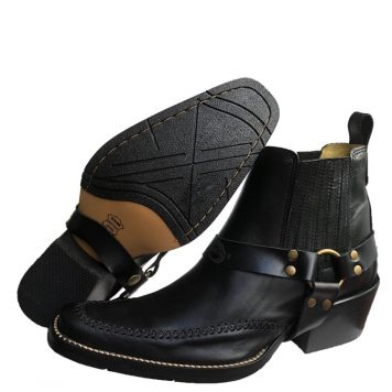 black harness cowboy boot